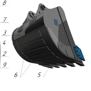 Ковш стандартный SB-2.1, 1 с бокорезами для экскаватора